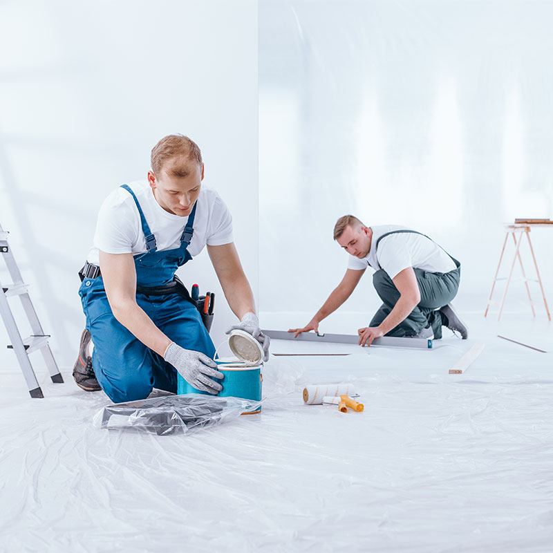 painter during interior finishing work